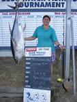 ANGLER: Maria Carnevale SPECIES: Yellowfin Tuna. WEIGHT: 40.8 Kg.